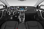 Stock photo of straight dashboard view of a 2015 Hyundai Elantra Sport 4 Door Sedan Dashboard