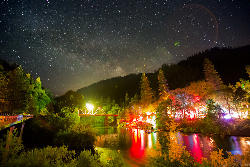 The Milky Way shines in the sky over the Bounce Music Festival in Belden, California on June 16th 2012.