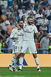 Real Madrid's Dani Carvajal (l) and Karim Benzema (r) celebrate goal during La Liga match. September 01, 2018. (ALTERPHOTOS/A. Perez Meca)