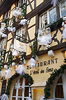 Restaurant with festive Christmas decorations. Strasbourg Alsace France