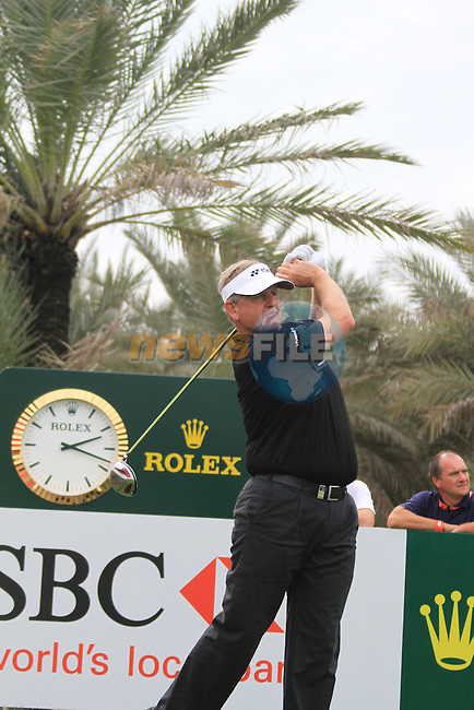 Colin Montgomerie teeing off on the 9th tee on day one of the Abu Dhabi HSBC Golf Championship 2011, at the Abu Dhabi golf club, UAE. 20/1/11..Picture Fran Caffrey/www.golffile.ie.