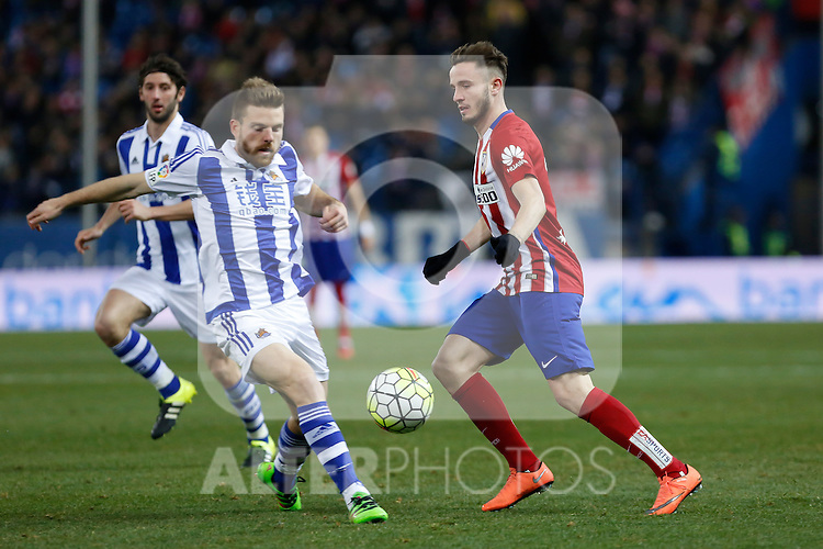 Atletico de Madrid´s Saul Niguez and Real Sociedad´s Asier Illarramendi during 2015-16 La Liga match between Atletico de Madrid and Real Sociedad at Vicente Calderon stadium in Madrid, Spain. March 01, 2016. (ALTERPHOTOS/Victor Blanco)
