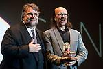 Guillermo del Toro and Santiago Segura receive 'Time Machine award' at Sitges Film Festival in Barcelona, Spain October 07, 2017. (ALTERPHOTOS/Borja B.Hojas)