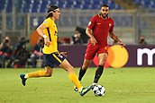 12th September 2017, Stadio Olimpic, Rome, Italy; UEFA Champions League between AS Roma versus Club Atletico de Madrid  Felipe Luis brings the ball out of defense ; the game ended on a 0-0 draw