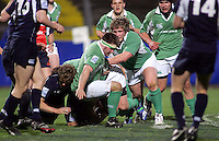Ireland's Stephen Douglas and Jason Harris-Wright drive play forward during the Division A clash against Scotland in the U19 World Championship at Ravenhill.