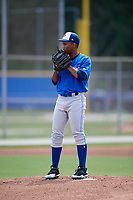 Toronto Blue Jays starting pitcher Naswell Paulino (9) looks in for the sign during a Florida Instructional League game against the Pittsburgh Pirates on September 20, 2018 at the Englebert Complex in Dunedin, Florida.  (Mike Janes/Four Seam Images)