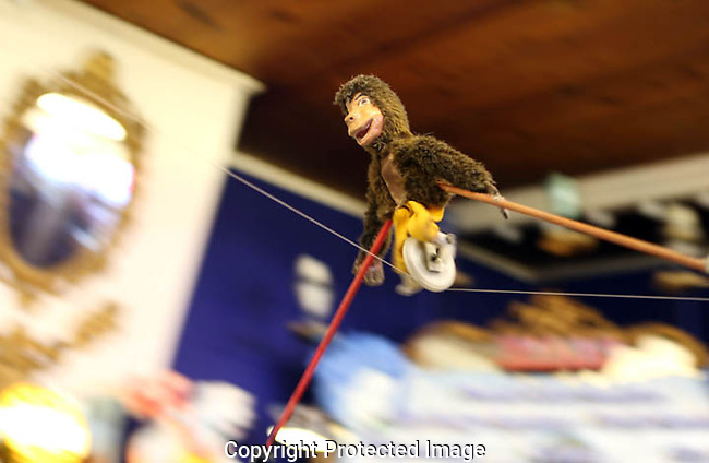 High-flying monkey on wire at Ella's Deli in Madison, Wisconsin