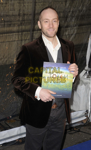 Derren Brown.'Cirque Du Soleil: Totem' UK Premiere, Royal Albert Hall, London, England..5th January 2012.half length black white facial hair stubble beard brown velvet.CAP/CAN.©Can Nguyen/Capital Pictures.