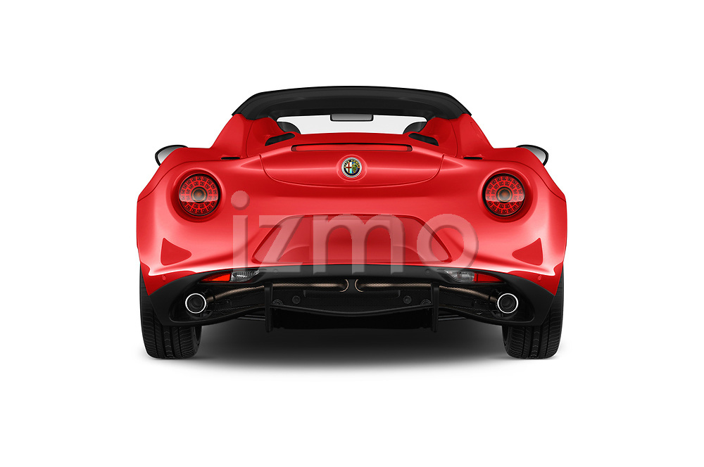 Straight rear view of a 2019 Alfa Romeo 4C Spider 2 Door Convertible stock images