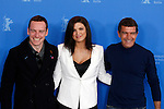 "(From Left) Actor MICHAEL FASSBENDER, actress GINA CARANO and actor ANTONIO BANDERAS pose for photographers at the photocall for the film ""Haywire"" during the 62nd Berlin International Film Festival Berlinale."
