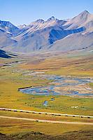 Trans Alaska Oil Pipeline, bush plane, James Dalton Highway, Atigun Canyon, Brooks Range, Alaska.