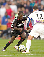 D.C. United's Freddy Adu looks to put a move on San Jose Earthquakes' Jeff Agoos. DC United defeated the San Jose Earthquakes 2 to 1 during the MLS season opener at RFK Stadium, Washington, DC, on April 3, 2004.