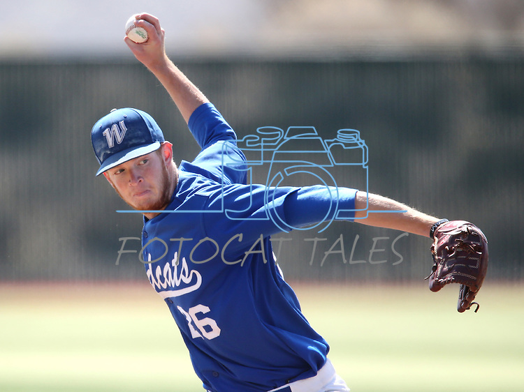 Western Nevada's Cody Hamlin pitches in a college baseball game against Southern Nevada in Carson City, Nev., on Friday, March 22, 2013..Photo by Cathleen Allison