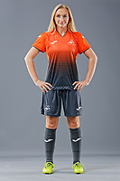 Pictured: Kelly Newcombe. 09 May 2018<br /> Re: Swansea City AFC studio photo-shoot at the Barn, in the Youth Academy facility in Swansea, Wales, UK.