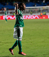 CALI -COLOMBIA-16-11-2013. Harrison Mujica (C) del Deportivo Cali celebra un gol en contra del Deportivo Pasto durante partido válido por la fecha 1 de los cuadrangulares de la Liga Postobón II 2013 jugado en el estadio Pascual Guerrero de la ciudad de Cali./ Deportivo Cali player Harrison Mujica (C) celebrates a goal against Deportivo Pasto match valid for the 1th date of the quadrangulars of Postobon League II 2013 played at Pascual Guerrero stadium in  Cali city.Photo: VizzorImage/Juan C. Quintero/STR