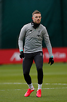 10th March 2020; Anfield, Liverpool, Merseyside, England; UEFA Champions League, Liverpool versus Atletico Madrid, Liverpool training; Jordan Henderson of Liverpool during today's open training session at Melwood ahead of tomorrow's Champions League match against Atletico Madrid