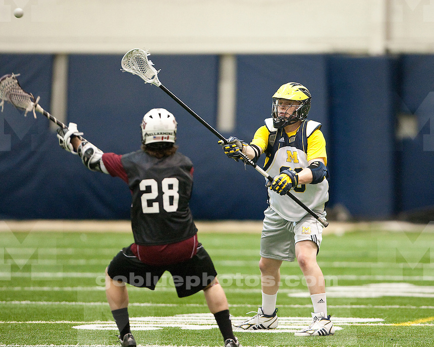 University of Michigan men's lacrosse scrimmage 18-11 loss to Bellarmine at Oosterbaan Fieldhouse in Ann Arbor, MI, on January 29, 2011.