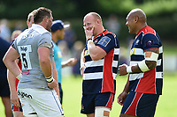 Ross McMillan of Bristol Rugby speaks with James Phillips of Bath Rugby after the match. Pre-season friendly match, between Bristol Rugby and Bath Rugby on August 12, 2017 at the Cribbs Causeway Ground in Bristol, England. Photo by: Patrick Khachfe / Onside Images