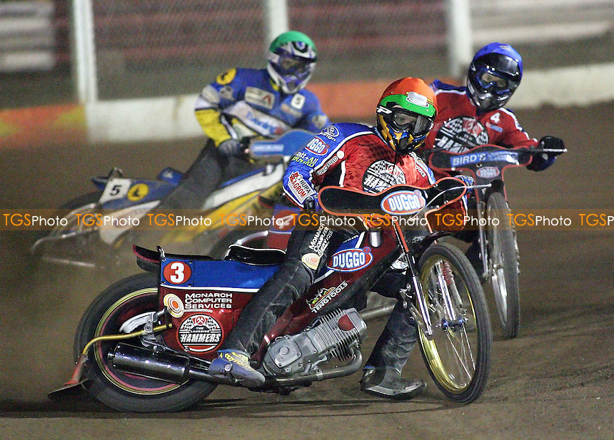 Heat 9 - Krzysztof Kasprzak (red), Leigh Lanham, Chris Louis - Lakeside Hammers vs Ipswich Witches - Sky Sports Elite League A at Arena Essex, Purfleet - MANDATORY CREDIT: Gavin Ellis/TGSPHOTO