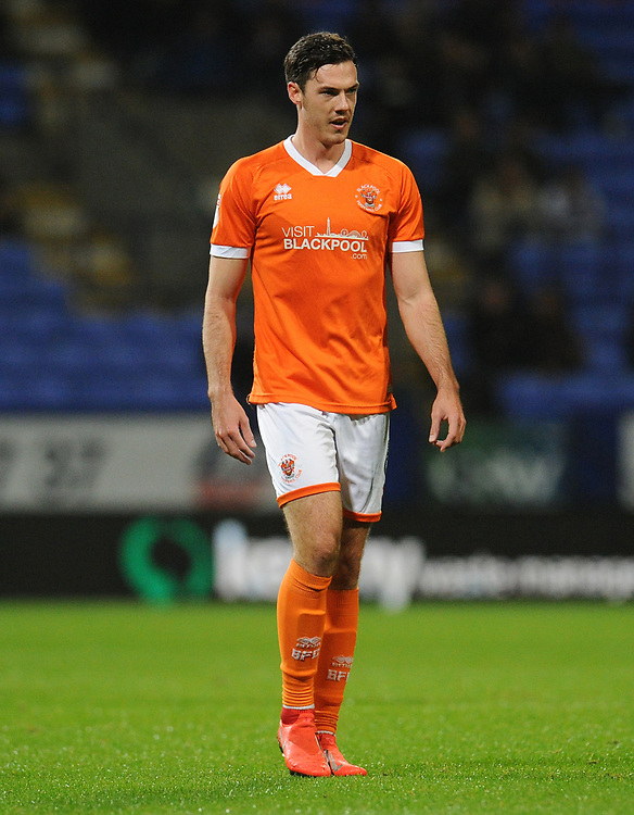 Blackpool's Ben Heneghan<br /> <br /> Photographer Kevin Barnes/CameraSport<br /> <br /> The EFL Sky Bet League One - Bolton Wanderers v Blackpool - Monday 7th October 2019 - University of Bolton Stadium - Bolton<br /> <br /> World Copyright © 2019 CameraSport. All rights reserved. 43 Linden Ave. Countesthorpe. Leicester. England. LE8 5PG - Tel: +44 (0) 116 277 4147 - admin@camerasport.com - www.camerasport.com
