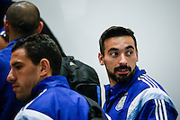 Argentina soccer player Ezequiel Iván Lavezzi (R ) arrives to the hotel to attend the friendly match between Argentina and Ecuador in New Jersey. 03.30.2015. Eduardo MunozAlvarez / VIEWpress.