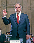 Judge Robert H. Bork, United States President Ronald Reagan's nominee for Associate Justice of the U.S. Supreme Court, is sworn-in to testify before the U.S. Senate Judiciary Committee during his confirmation hearing on September 15, 1987.  Bork passed away on December 19, 2012..Credit: Arnie Sachs / CNP
