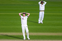 Picture by Alex Whitehead/SWpix.com - 22/04/2018 - Cricket - Specsavers County Championship Div One - Yorkshire v Nottinghamshire, Day 3 - Emerald Headingley Stadium, Leeds, England - Yorkshire's Josh Shaw and Cheteshwar Pujara react.