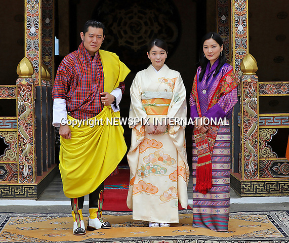 02.06.2017;Thimpu, Bhutan: PRINCESS MAKO OF JAPAN WITH KING WANGCHUCK AND QUEEN JETSUN PEMA OF BHUTAN<br /> at the audience with the King at the Tashichhodzong. <br /> Her Imperial Highness Princess Mako of Japan, the granddaughter of The Emperor of Japan, is on a 9-day official visit to Bhutan.<br /> Princess Mako will soon lose her royal title. Under Japan&rsquo;s controversial law, any female royal family member loses her status on marrying a commoner. This has reignited debate on the male-only succession to the world&rsquo;s oldest hereditary monarchy with the emperor also possibly abdicating soon.<br /> The 25-year-old eldest granddaughter of Emperor Akihito will become engaged to law firm worker Kei Komuro, also 25, whom she met while studying together.<br /> The engagement will only be official after a ceremonial exchange of gifts, with the wedding expected to take place next year.<br /> Mandatory Credit Photo: &copy;NEWSPIX INTERNATIONAL<br /> <br /> IMMEDIATE CONFIRMATION OF USAGE REQUIRED:<br /> Newspix International, 31 Chinnery Hill, Bishop's Stortford, ENGLAND CM23 3PS<br /> Tel:+441279 324672  ; Fax: +441279656877<br /> Mobile:  07775681153<br /> e-mail: info@newspixinternational.co.uk<br /> Please refer to usage terms. All Fees Payable To Newspix International