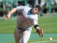 Mercer third baseman Steven Karwatt misses a polup in the opening game of the 2008 season between the Mercer Bears and Clemson Tigers at Doug Kingsmore Stadium in Clemson, S.C. Photo by:  Tom Priddy/Four Seam Images