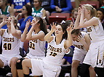 RAPID CITY, SD - MARCH 18, 2017 -- The Harrisburg bench celebrates a 3-point basket against Sioux Falls O'Gorman during the 2017 South Dakota State Class AA Girls Basketball Championship game Saturday at Barnett Arena in Rapid City, S.D.  (Photo by Dick Carlson/Inertia)