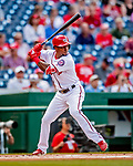 26 September 2018: Washington Nationals outfielder Victor Robles leads off the first inning against the Miami Marlins at Nationals Park in Washington, DC. The Nationals defeated the visiting Marlins 9-3, closing out Washington's 2018 home season. Mandatory Credit: Ed Wolfstein Photo *** RAW (NEF) Image File Available ***