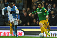 Preston North End's Ben Pearson under pressure from Blackburn Rovers' Amari'i Bell<br /> <br /> Photographer Kevin Barnes/CameraSport<br /> <br /> The EFL Sky Bet Championship - Blackburn Rovers v Preston North End - Saturday 11th January 2020 - Ewood Park - Blackburn<br /> <br /> World Copyright © 2020 CameraSport. All rights reserved. 43 Linden Ave. Countesthorpe. Leicester. England. LE8 5PG - Tel: +44 (0) 116 277 4147 - admin@camerasport.com - www.camerasport.com