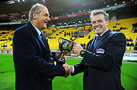 Wairarapa Bush chief executive Tony Hargood hands over the match trophy to HKRFU chief executive Corey Kennett the Heartland Championship preseason rugby match between Horowhenua Kapiti and Wairarapa Bush at Westpac Stadium in Wellington, New Zealand on Saturday, 5 May 2018. Photo: Dave Lintott / lintottphoto.co.nz