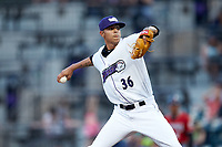 Winston-Salem Dash starting pitcher Jorgan Cavanerio (36) in action against the Carolina Mudcats at BB&T Ballpark on June 1, 2019 in Winston-Salem, North Carolina. The Dash defeated the Mudcats 5-4 in game two of a double header. (Brian Westerholt/Four Seam Images)