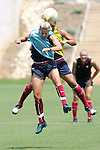 28 July 2006: Aly Wagner (front) and Abby Wambach (back) challenge for a ball in training. The United States Women's National Team trained at SAS Soccer Park in Cary, North Carolina, in preparation for an International Friendly match against Canada to be played on Sunday, July 30.