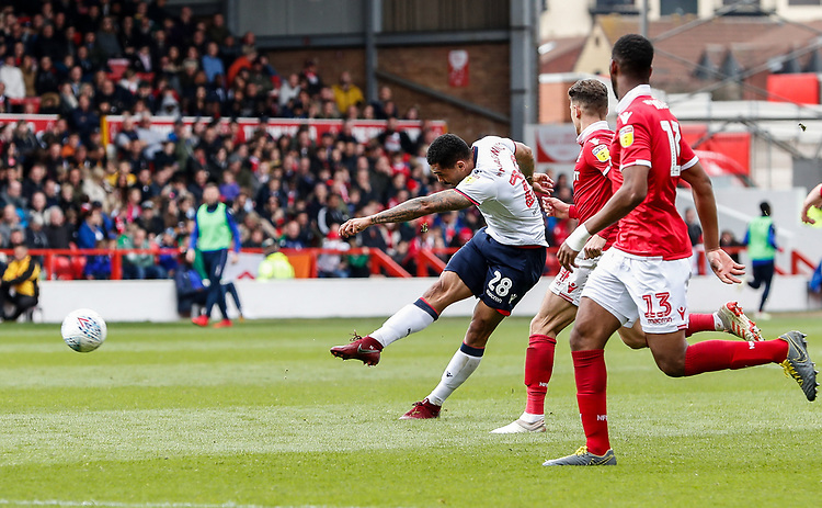 Bolton Wanderers' Josh Magennis shoots at goal <br /> <br /> Photographer Andrew Kearns/CameraSport<br /> <br /> The EFL Sky Bet Championship - Nottingham Forest v Bolton Wanderers - Sunday 5th May 2019 - The City Ground - Nottingham<br /> <br /> World Copyright © 2019 CameraSport. All rights reserved. 43 Linden Ave. Countesthorpe. Leicester. England. LE8 5PG - Tel: +44 (0) 116 277 4147 - admin@camerasport.com - www.camerasport.com