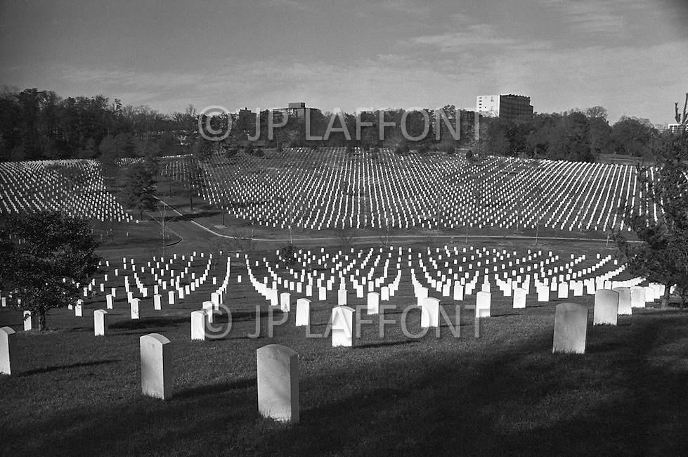Washington DC, Nov 23 1973, Arlington National Cemetery is the Nation's most revered burial site. It consists the final resting place for over 300,000 Americans. On November 22, 1963, President John Fitzgerald Kennedy was assassinated. He was laid to rest directly below Arlington House..Senator Robert F. Kennedy was assassinated in 1968 and was buried in a memorial site adjacent to his brother's.
