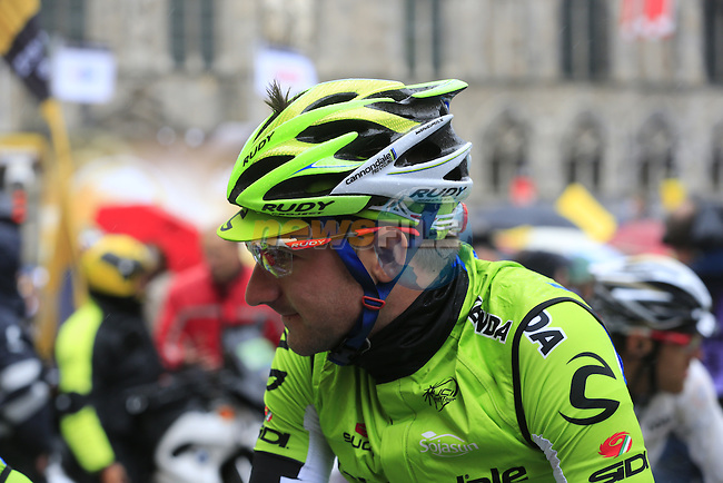 Elia Viviani (ITA) Cannondale on the start line in Ypres before the start of the cobbled stage Stage 5 of the 2014 Tour de France running 155.5km from Ypres to Arenberg. 9th July 2014.<br /> Picture: Eoin Clarke www.newsfile.ie