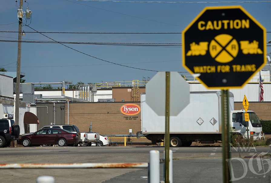 NWA Democrat-Gazette/BEN GOFF &bull; @NWABENGOFF<br /> A view of the Tyson Foods facility on E. Elm St in downtown Rogers on Friday Aug. 7, 2015.