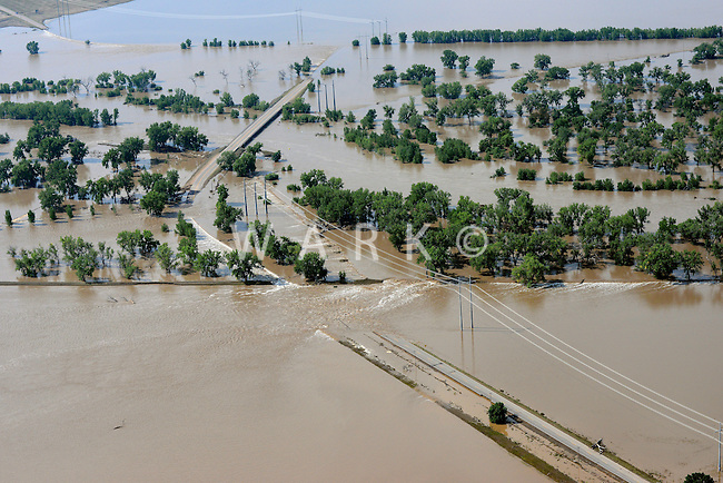 Flooding along South Platte River, near Kersey in Weld County, Colorado