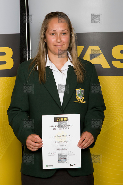 Girls Weightlifting winner Stephanie McKenzie from Lynfield College. ASB College Sport Young Sportperson of the Year Awards 2008 held at Eden Park, Auckland, on Thursday November 13th, 2008.