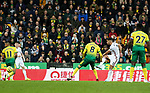George Baldock of Sheffield United scores his sides second goal of the game during the Premier League match at Carrow Road, Norwich. Picture date: 8th December 2019. Picture credit should read: James Wilson/Sportimage