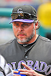 10 July 2011: Colorado Rockies first baseman Jason Giambi hydrates in the dugout during a game against the Washington Nationals at Nationals Park in Washington, District of Columbia. The Nationals shut out the visiting Rockies 2-0 salvaging the last game their 3-game series at home prior to the All-Star break. Mandatory Credit: Ed Wolfstein Photo