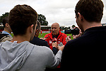 Stevenage 0 Leyton Orient 1, 17/08/2013. Broadhall Way, League One. Leyton Orient arrived in Stevenage with the swagger of a club that had started the season well, while Stevenage searched for their first point. Russell Slade gives interviews after the 1-0 win for his team. Photo by Simon Gill