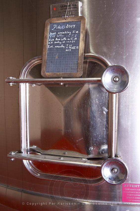tank door sign on tank chateau lestrille bordeaux france