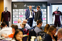 Kevin Johns speaks to Andy Robinson in the 1912 Lounge prior to the Sky Bet Championship match between Swansea City and Bristol City at the Liberty Stadium, Swansea, Wales, UK. Saturday 25 August 2018