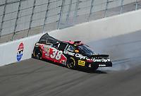Mar 1, 2008; Las Vegas, NV, USA; Nascar Nationwide Series driver Jason Leffler crashes during the Sams Town 300 at the Las Vegas Motor Speedway. Mandatory Credit: Mark J. Rebilas-US PRESSWIRE