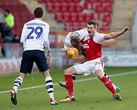 Preston North End's Tom Clarke tussles with Rotherham United's Michael Smith<br /> <br /> Photographer David Shipman/CameraSport<br /> <br /> The EFL Sky Bet Championship - Rotherham United v Preston North End - Tuesday 1st January 2019 - New York Stadium - Rotherham<br /> <br /> World Copyright © 2019 CameraSport. All rights reserved. 43 Linden Ave. Countesthorpe. Leicester. England. LE8 5PG - Tel: +44 (0) 116 277 4147 - admin@camerasport.com - www.camerasport.com