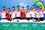 Japan team group (JPN), <br /> AUGUST 14, 2016 - Swimming : <br /> Medalist Swimming Japan team of Japan <br /> during the Press Conference <br /> for the Rio 2016 Olympic Games <br /> at Olympic village, in Rio de Janeiro, Brazil. <br /> (Photo by Sho Tamura/AFLO SPORT)