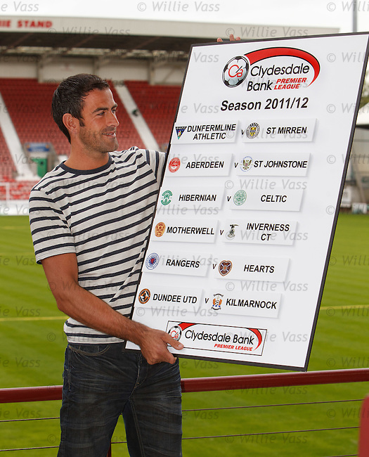 Paul Gallacher of Dunfermline wth the opening weekend's SPL fixtures